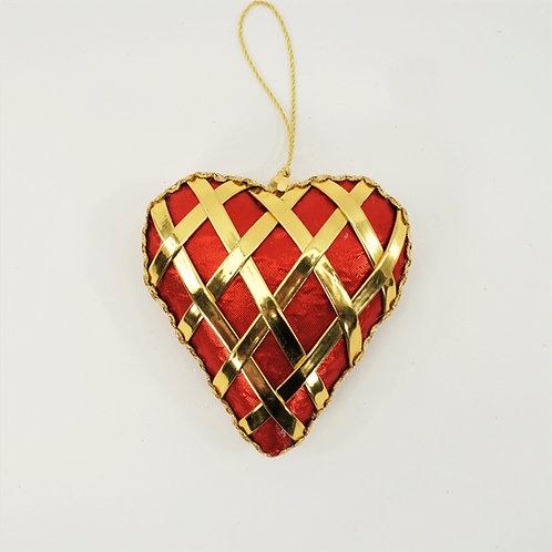 HEART LATTICE VELVET 4IN RED AND GOLD
