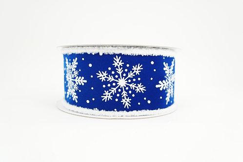FUZZY EDGE GLITTER SNOWFLAKE RIBBON 2.5X10 WHITE,BLUE