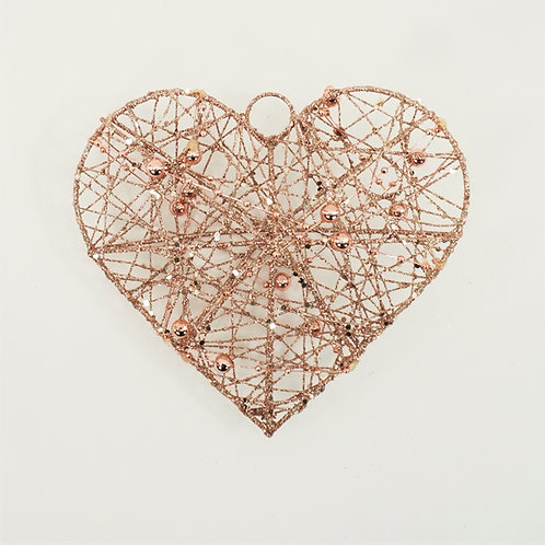 HEART WIRED WITH BEAD 6IN ROSE GOLD