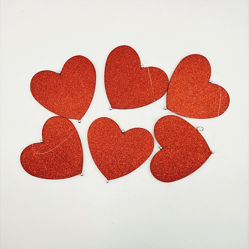 GARLAND HEARTS 6FT RED