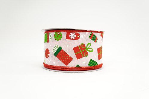 CHRISTMAS PRESENTS RIBBON 2.5X10 PINK,RED