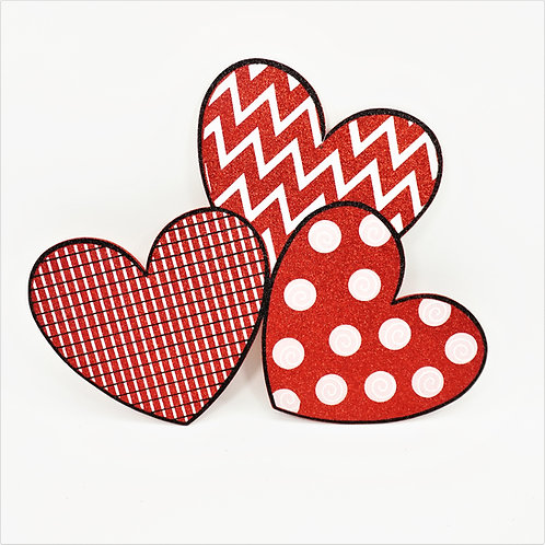 FOAM BOARD 3 HEARTS RED