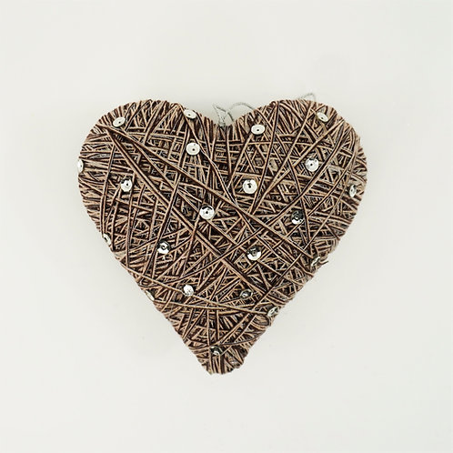HEART 6IN WITH SEQUIN BROWN SILVER