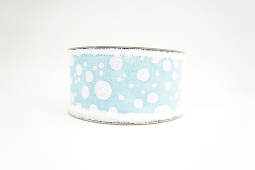 FUZZY EDGE GLITTER DOT RIBBON 2.5X10 LIGHT BLUE,WHITE