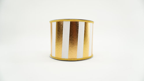 RIBBON HORIZONTAL STRIPES 4X10 GOLD,WHITE
