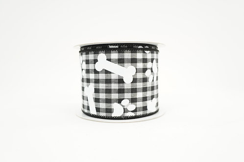 GINGHAM PAWPRINTS AND BONES RIBBON 2.5X10 BLACK,WHITE
