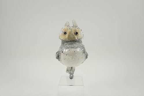 OWL WITH CLIP WHITE & SILVER