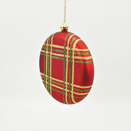 BALL FLAT ORNAMENT 8IN RED SCOTCH