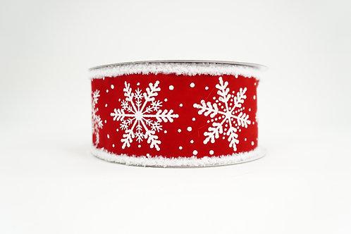FUZZY EDGE GLITTER SNOWFLAKE RIBBON 2.5X10 RED,WHITE