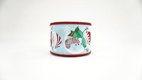 CHRISTMAS SNOWMAN WITH GIFT,STOCKING,TREE RIBBON 2.5X10 AQUA