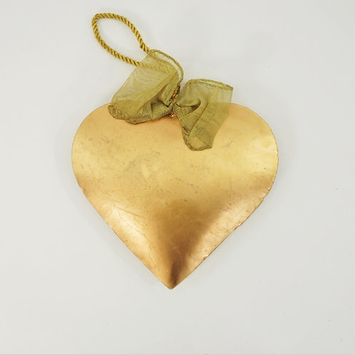 HEART 9IN METAL WITH BOW GOLD