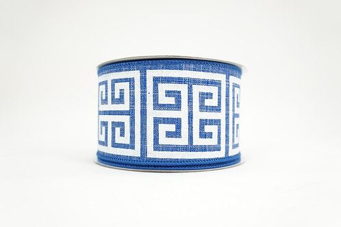 GREEK KEY RIBBON 2.5X10 BLUE,WHITE