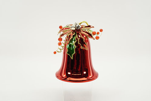 LIBERTY BELL 120MM 6IN TALL WITH POINSETTIA RED