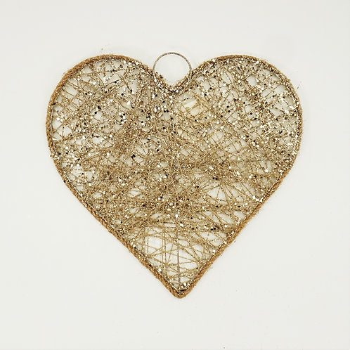 HEART FLAT 10IN GLITTER CHAMPAGNE