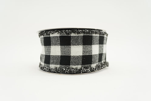 RIBBON FLANNEL CHECKER 2.5X10 WHITE, BLACK, AND RED
