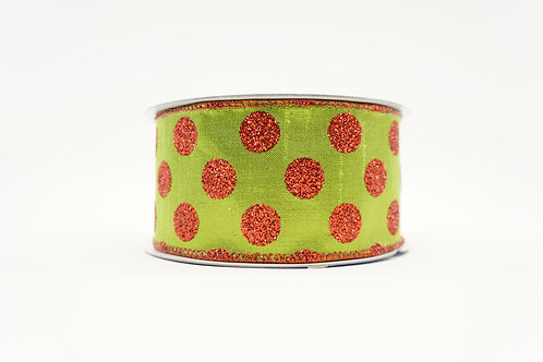 GLITTER POLKA DOT RIBBON 2.5X10 LIME GREEN,RED