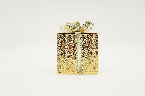 GIFT BOX WITH LED LIGHTS 5IN GOLD
