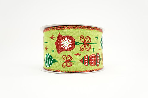 VINTAGE ORNAMENT CHRISTMAS RIBBON 2.5X10 RED,GREEN