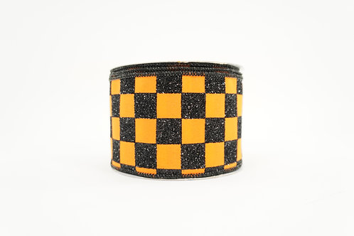 GLITTER CHCKER RIBBON 2.5X10 BLACK,ORANGE