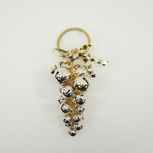 JINGLE BELL CLUSTER HANGER 12IN TALL GOLD