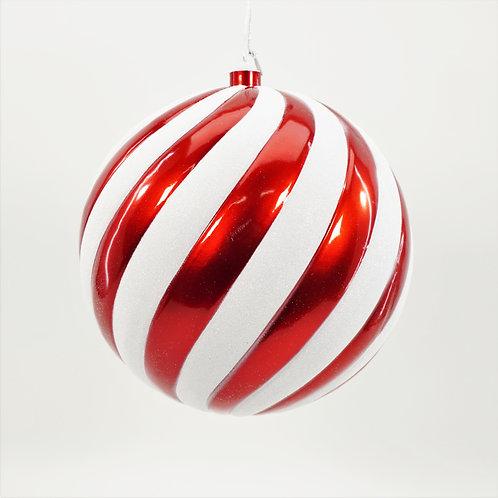 BALL 200MM SWIRL RED AND WHITE GLITTER