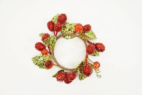 CANDLE RING BERRY 3.5IN WITH LEAVES RED
