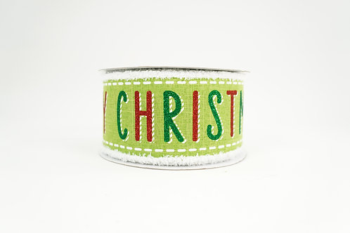 FUZZY EDGE BOLD MERRY CHRISTMAS RIBBON 2.5X10 GREEN,WHITE