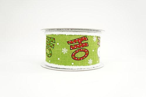 FUZZY EDGE HO HO HO SANTA CLAUS CHRISTMAS RIBBON 2.5X10