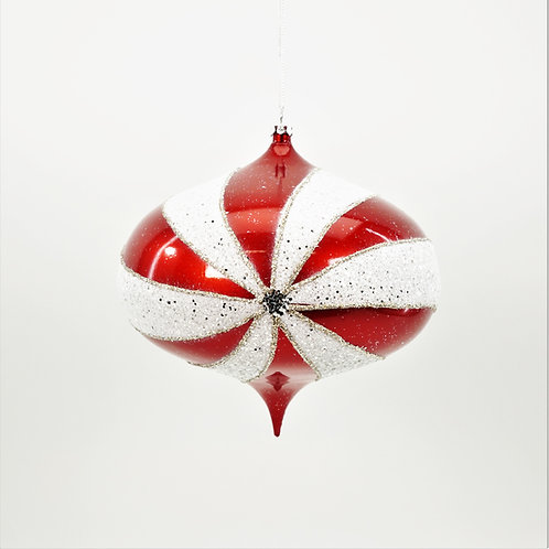 KISMET 160MM CANDY CANE RED AND WHITE GLITTER