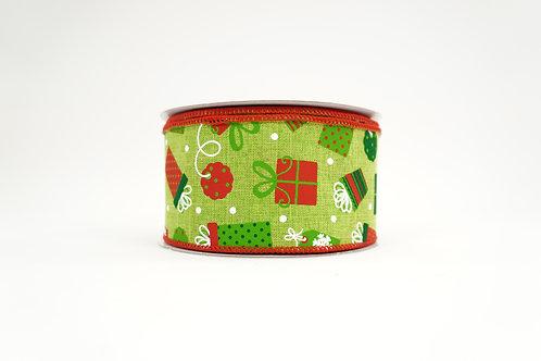 CHRISTMAS PRESENTS RIBBON 2.5X10 RED,GREEN