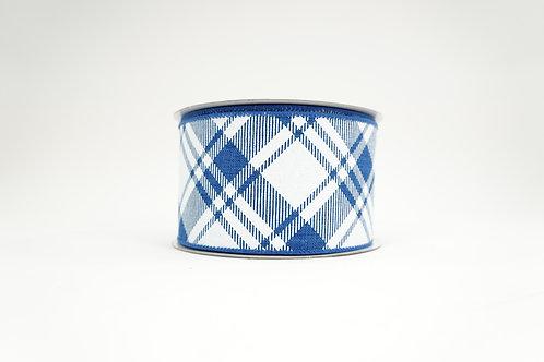 DIAMOND PATTERN RIBBON 2.5X10 BLUE,WHITE