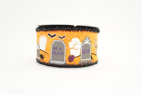 TINSEL EDGE GRAVEYARD RIBBON 2.5X10 ORANGE