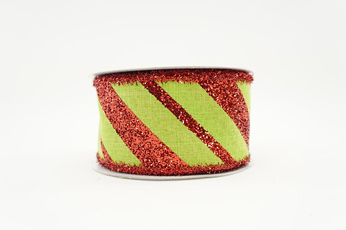 GLITTER DIAGONAL STRIPE RIBBON 2.5X10 RED,LIME GREEN