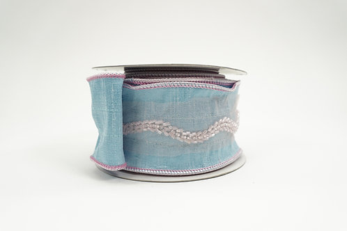RIBBON 2.5X5YD SKY BLUE WITH PINK BEADS
