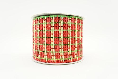 BASKET WEAVE MESH RIBBON 4X20 RED,GREEN,NATURAL