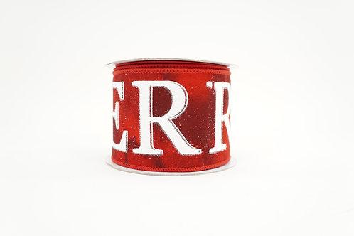 GLITTER MERRY CHRISTMAS RIBBON 2.5X10 RED,WHITE