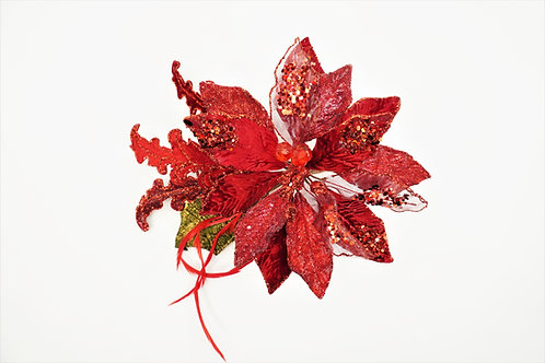 CLIP POINSETTIA WITH ACAN LEAF RED