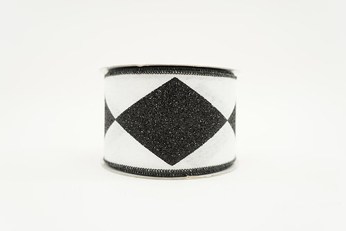 RIBBON BOLD HARLEQUIN 2.5X10 BLACK AND WHITE