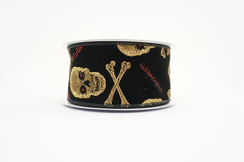 GLITTER SKULL AND CROSSBONE RIBBON 2.5X10 BLACK,GOLD