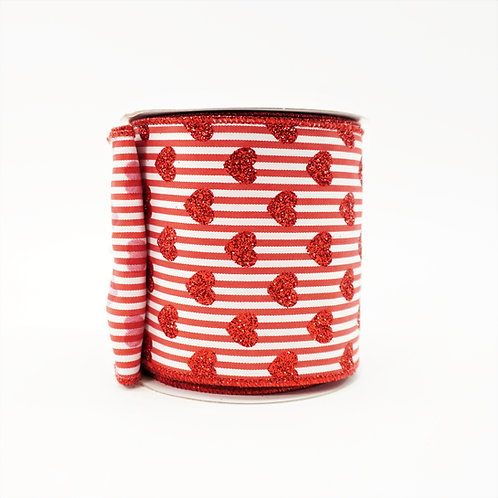 RIBBON SMALL GLITTER HEARTS WITH STRIPES RED AND WHITE 4X10YD