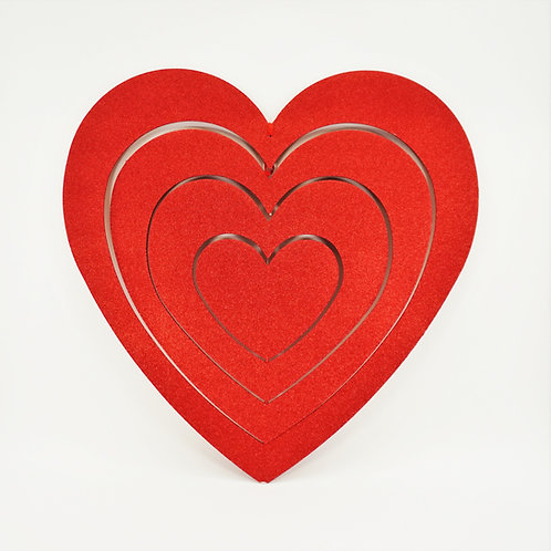 HEART 34IN 4 LAYERS RED GLITTER