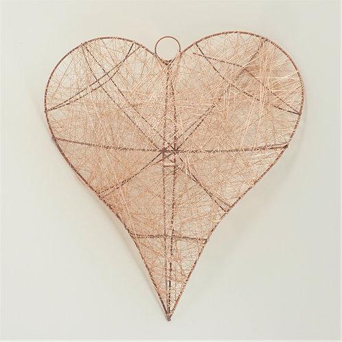HEART THREADED 30X35CM ROSE GOLD
