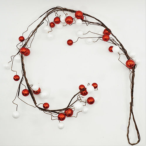 GLITTER BALL GARLAND 6FT RED AND WHITE