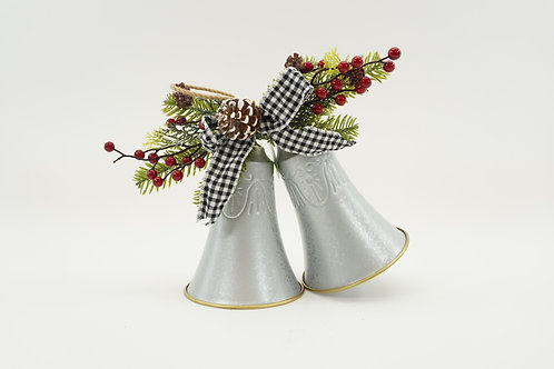 TWIN BELL WITH DECOR 9IN SILVER