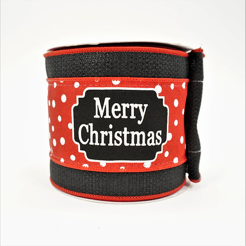 RIBBON MERRY CHRISTMAS 4X10 BLACK AND RED