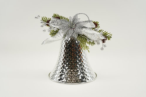LIBERTY BELL 10IN WITH DECOR SILVER