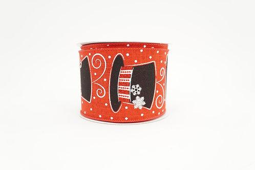 SNOWMAN HAT CHRISTMAS RIBBON 2.5X10 RED