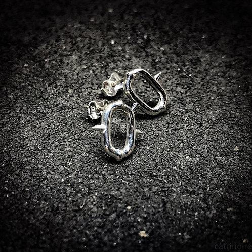 Spiky Link ear studs, chain earrings, industrial jewelry.