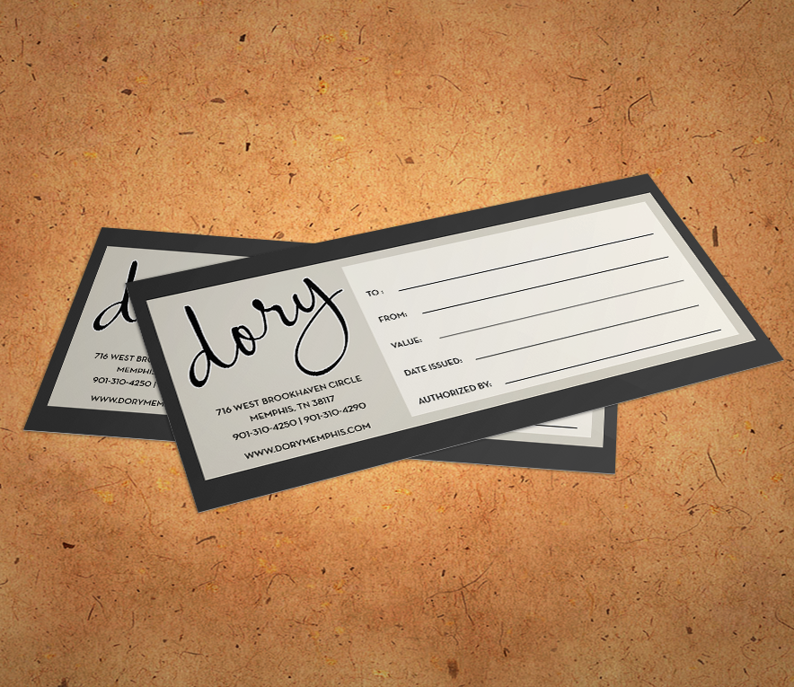 Dory Gift Certificates Available