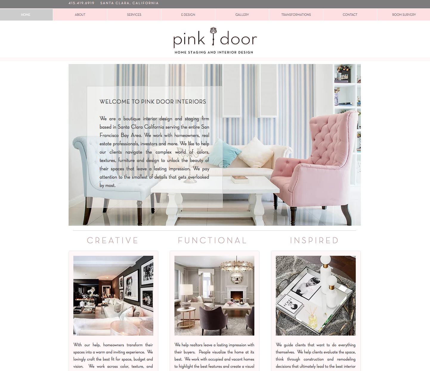 Pink Door Interiors Website Design